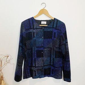 Vintage Blue Black Sparkle Jacket 80s Style